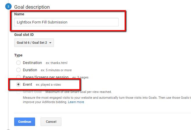 goal description in google analytics for conversion action