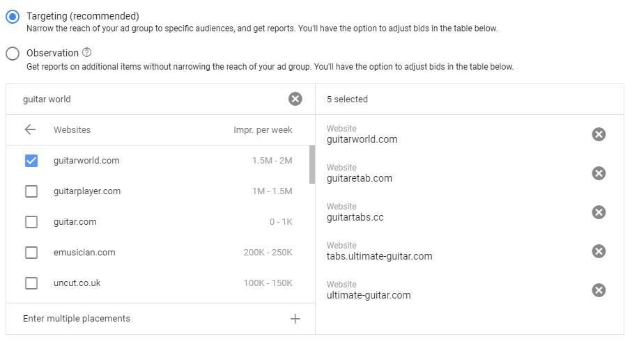 Google Display network placements targeting