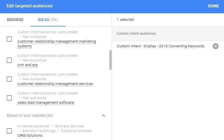 Google Display Network audience target options