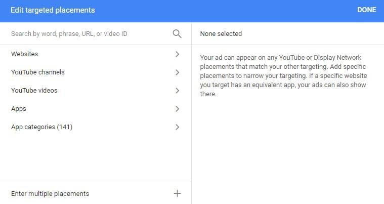Google Display Network targeting placements