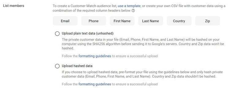 Google's Customer Match list member options