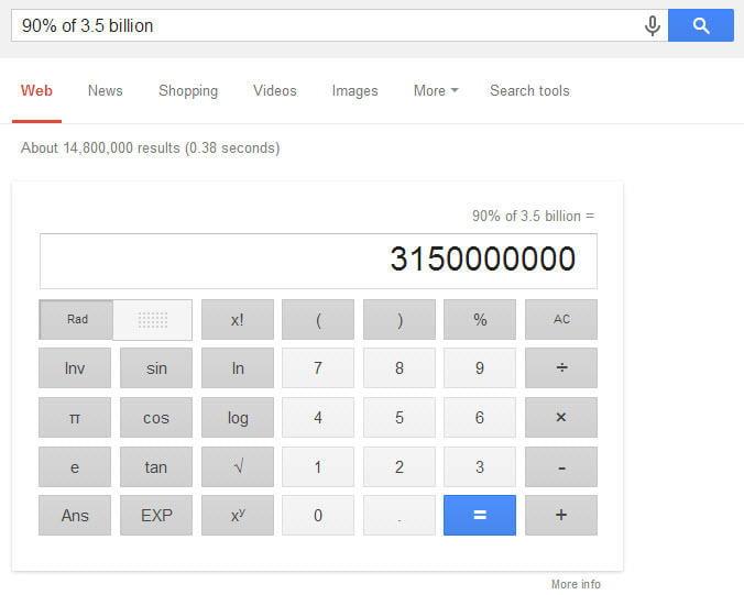 Google Hummingbird math calculation
