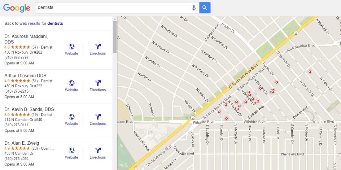 Google Maps marketing dentists Beverly Hills