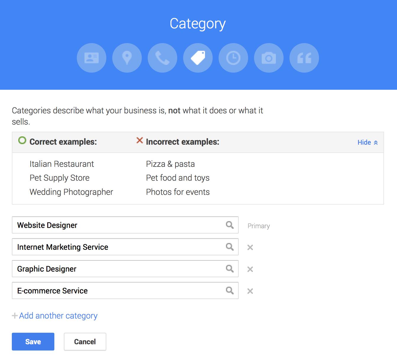 Google Maps marketing Google My Business categories