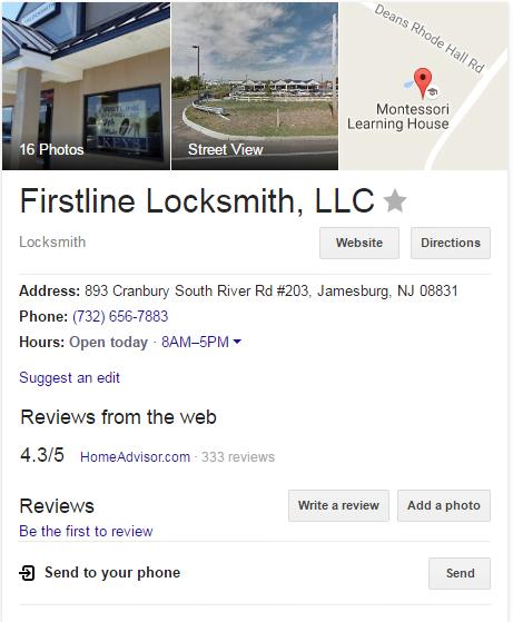 google my business account firstline locksmith