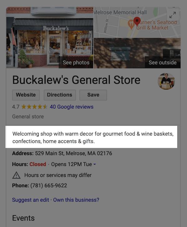 google my business optimization editorial description for buckalews