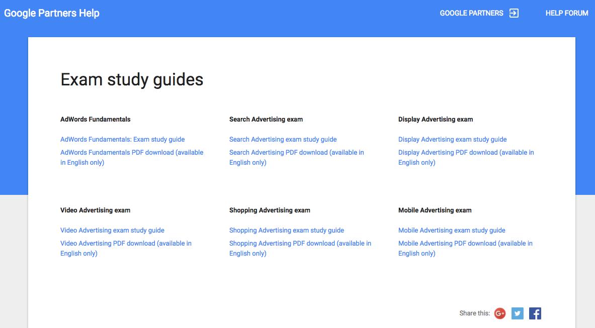 adwords exam study guides