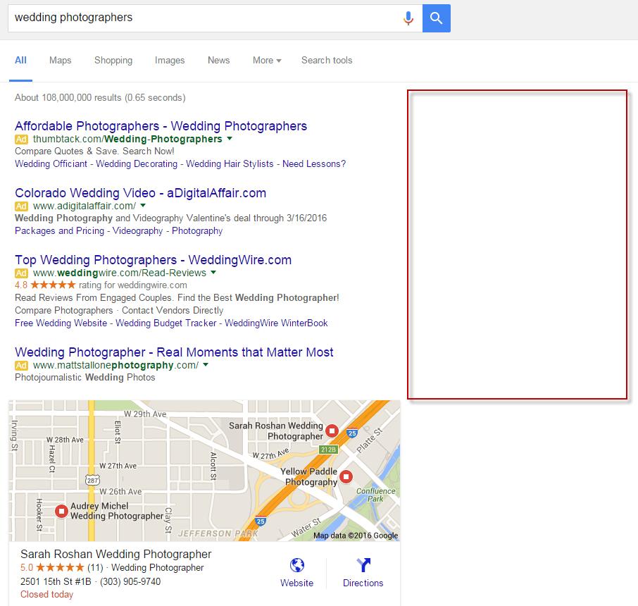 no google adwords ads on right rail