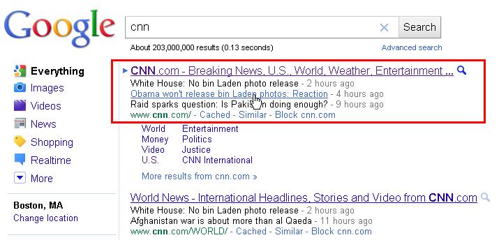 new google sitelinks on CNN instead of website description