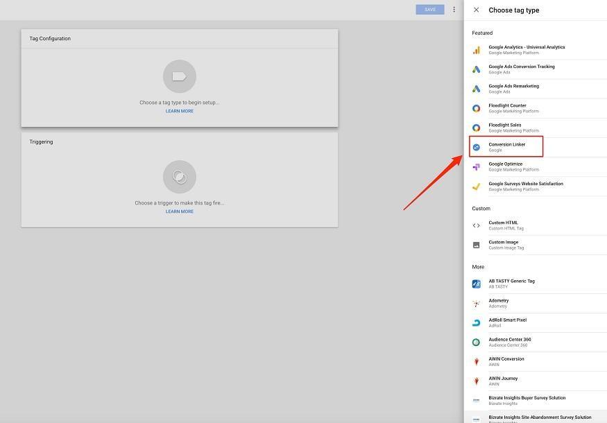 Google Tag Manager configuration menu