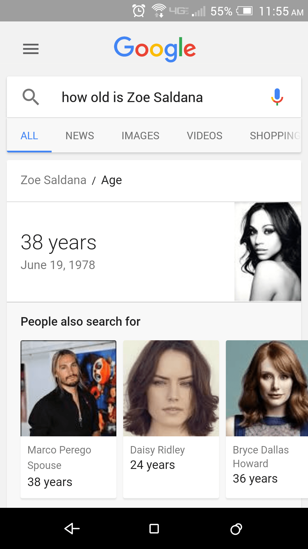 Google Voice Search Zoe Saldana age query