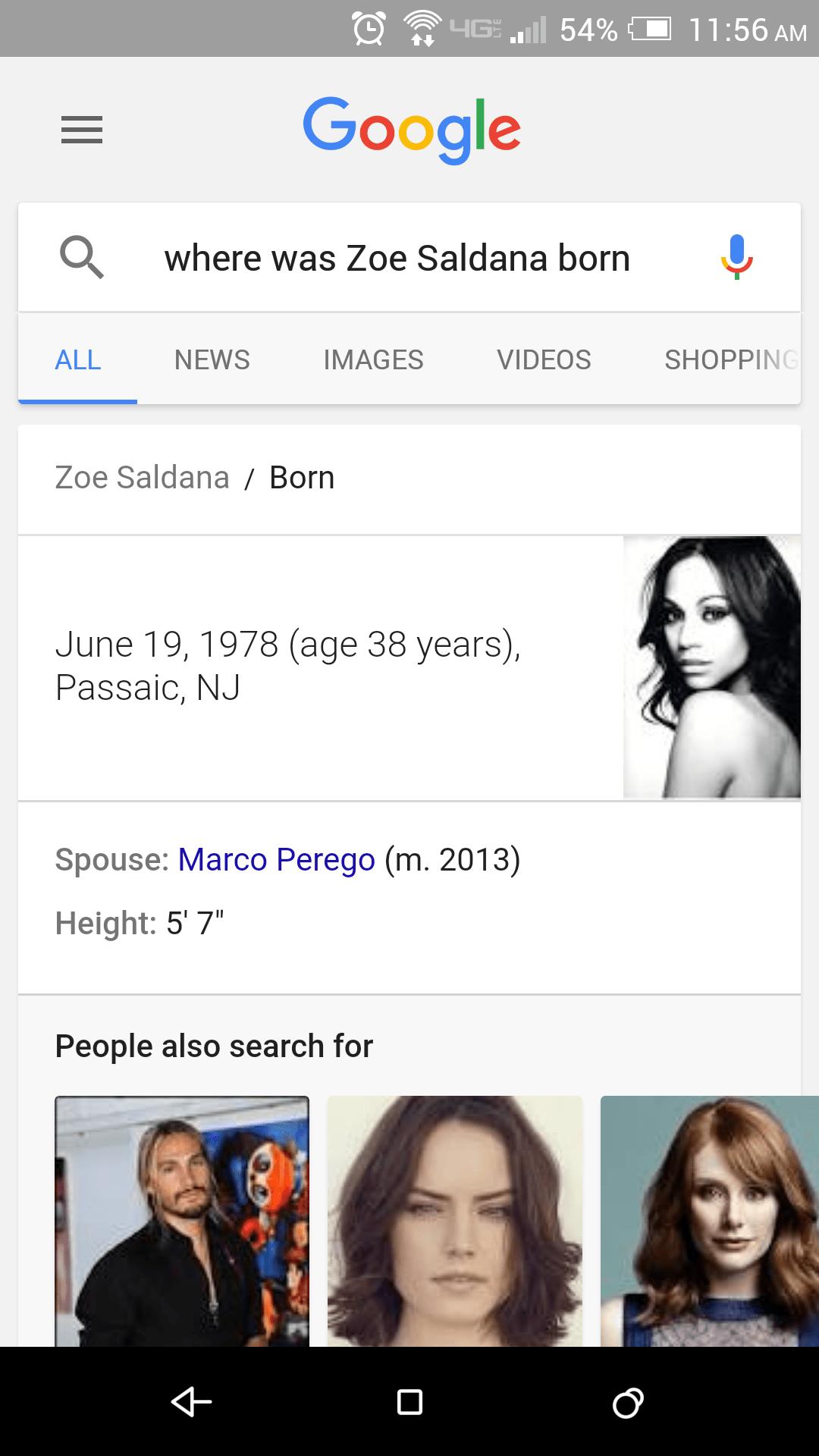 Google Voice Search Zoe Saldana birthplace query
