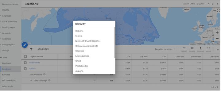 google ads geotargeting—screenshot of granular campaign metrics