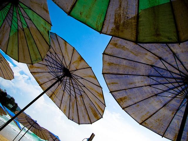 Home improvement advertising image of umbrellas