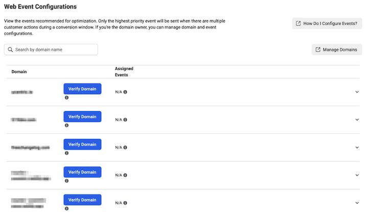 facebook ads domain verification window for iOS 14