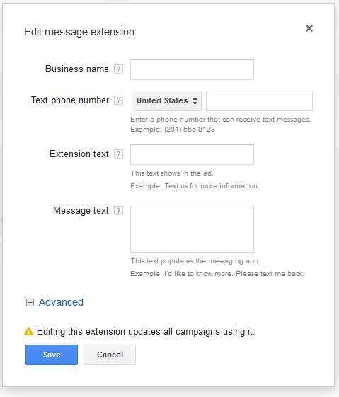 message extensions setup