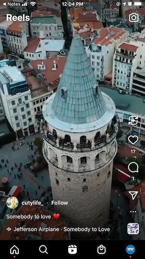 instagram reel example documenting travel