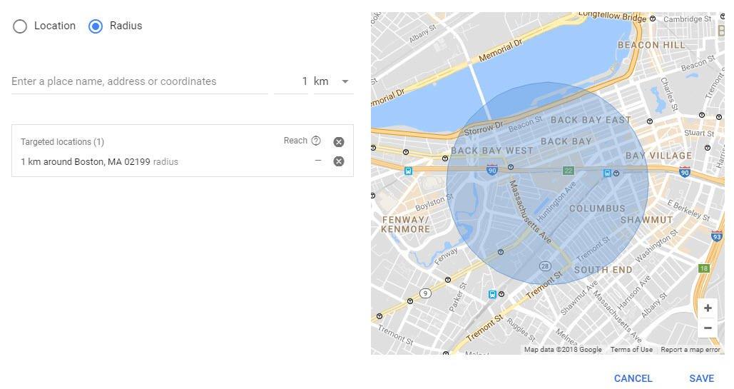Hyperlocal marketing AdWords geolocation settings radius targeting kilometers