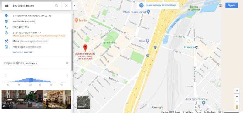 Hyperlocal marketing Google My Business listing example