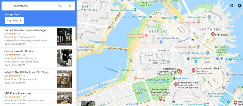 Hyperlocal marketing near-me bookstore search example