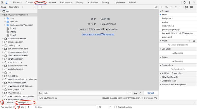 "improve core web vitals—screenshot of coverage tool in ""inspect element"" window"