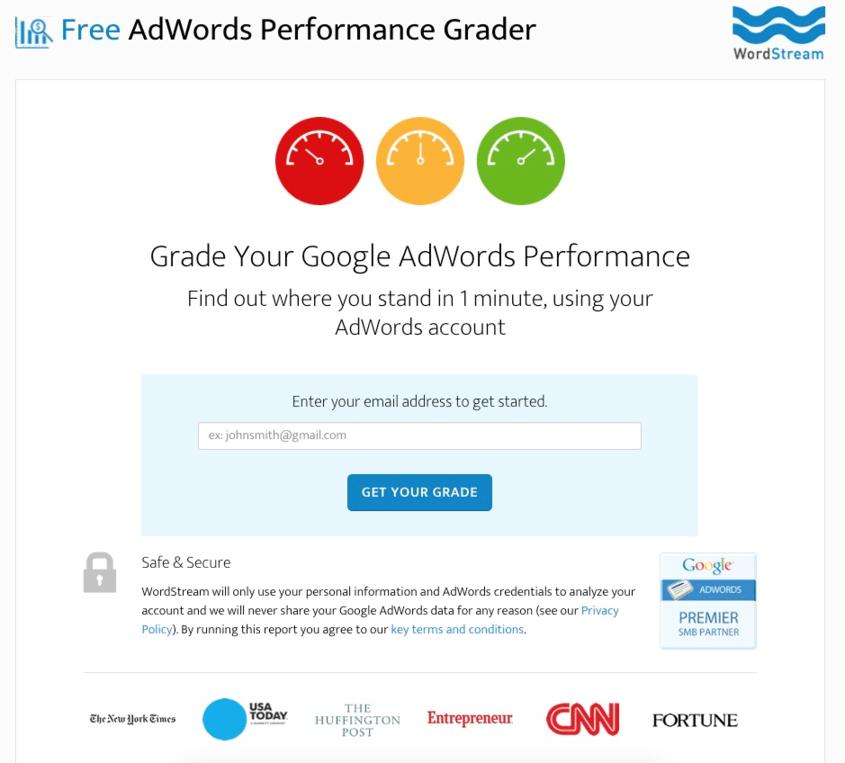 Increase conversions AdWords Performance Grader