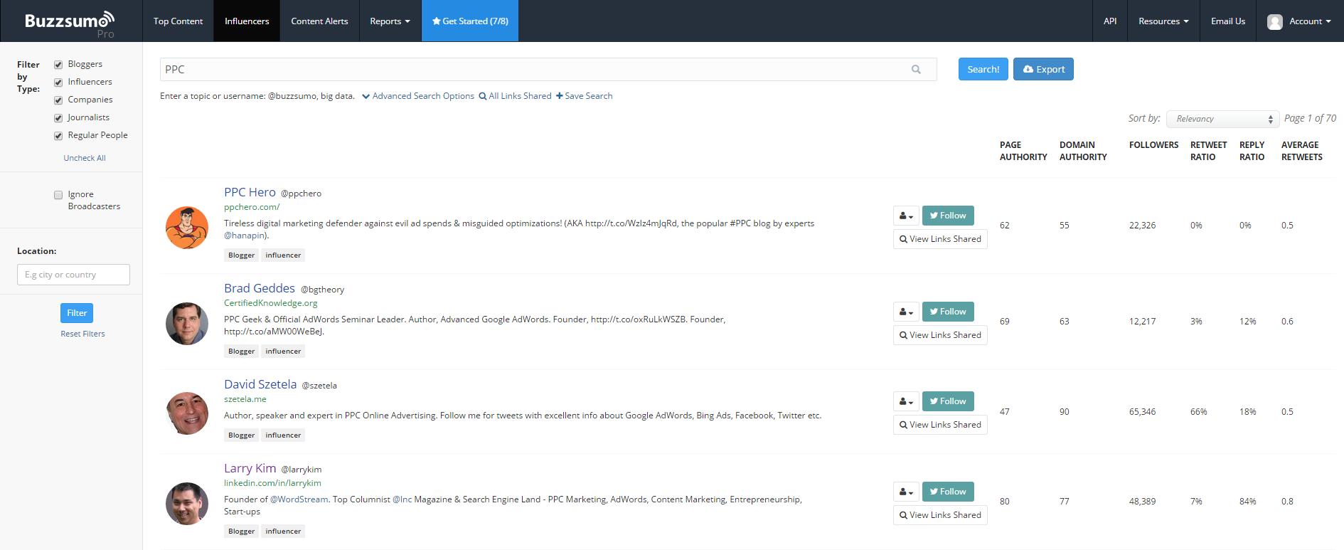 Influencer marketing BuzzSumo Influencers report screenshot