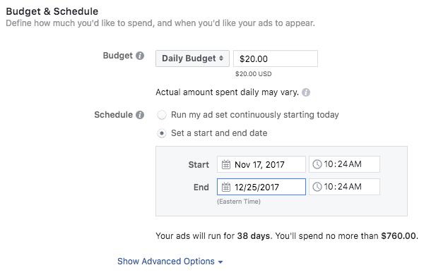 set up instagram ads budget