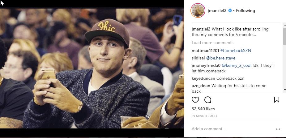 johnny football self-deprecating instagram caption example