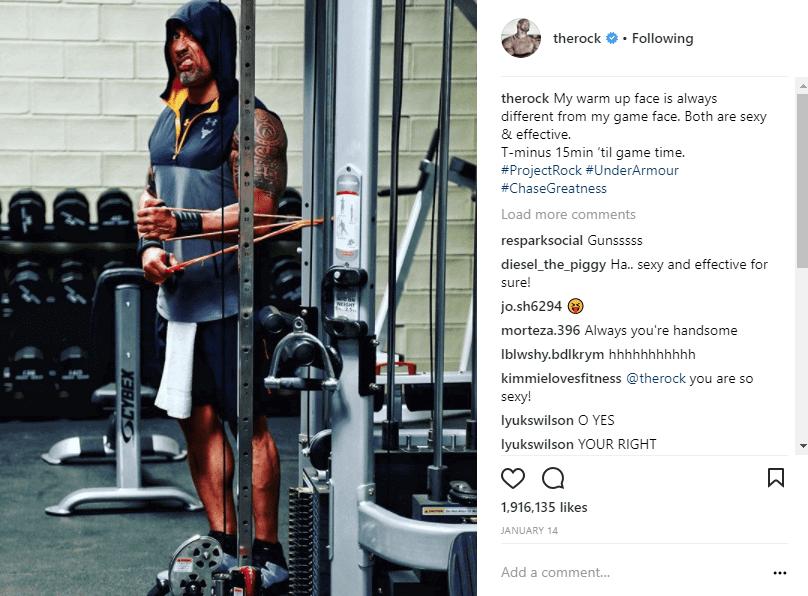 the rock self-deprecating instagram caption example
