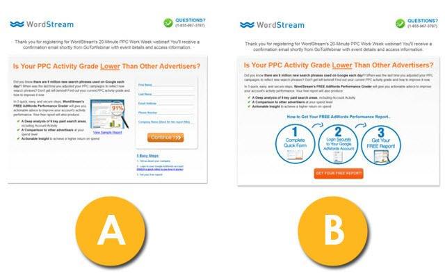 Instagram giveaways WordStream web form AB test example