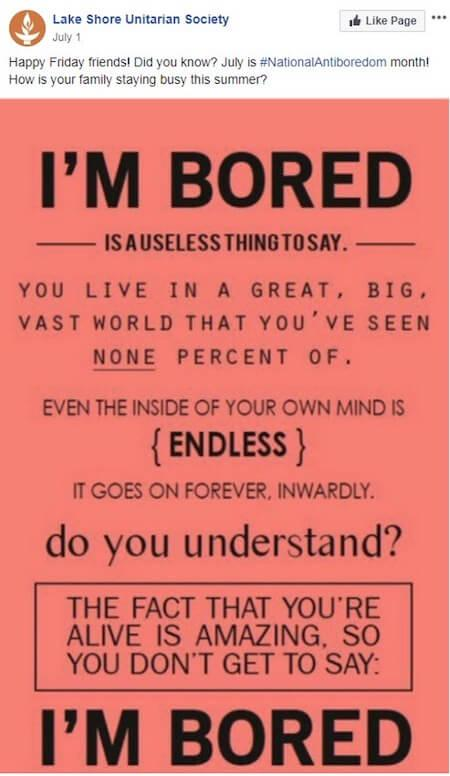 july marketing ideas anti boredom campaign on facebook