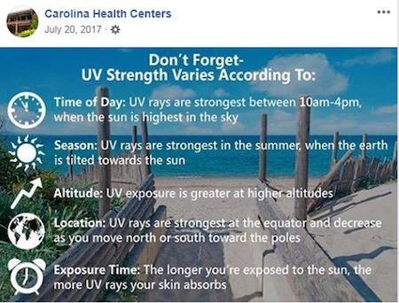 july marketing ideas uv safety month facebook post