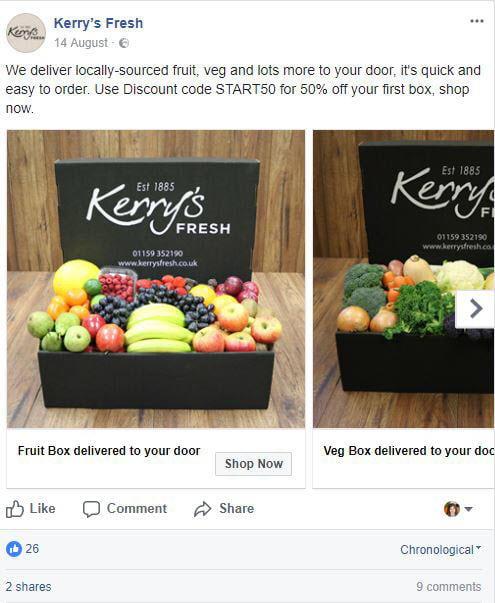 facebook ads kerry's fresh