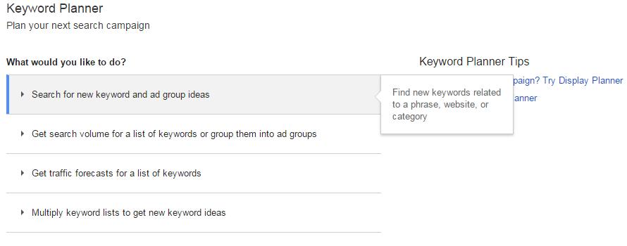 New AdWords Keyword Planner interface