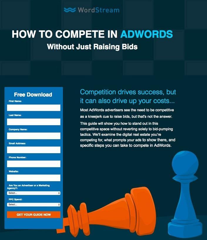 WordStream landing page example