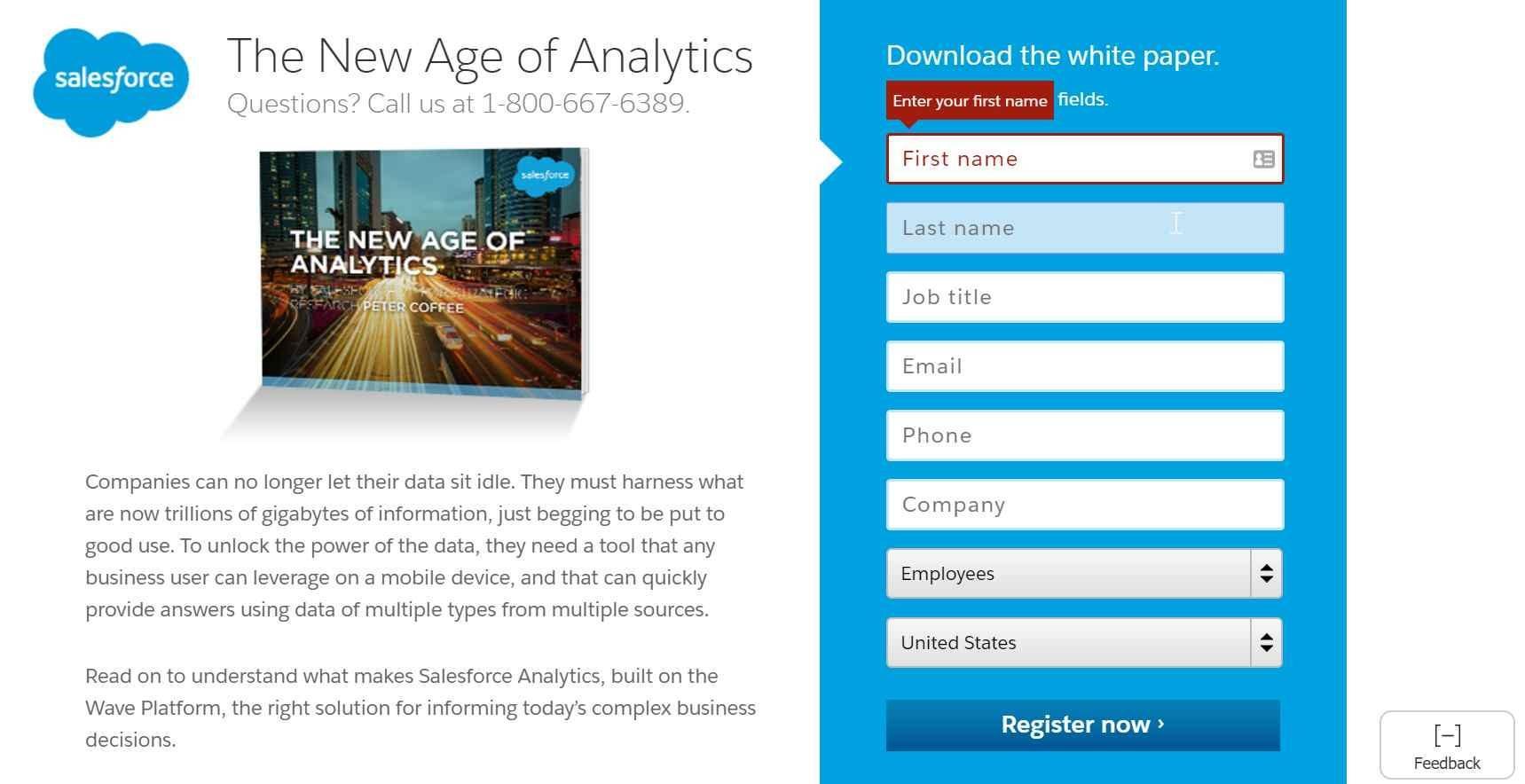 Landing page designs Salesforce example