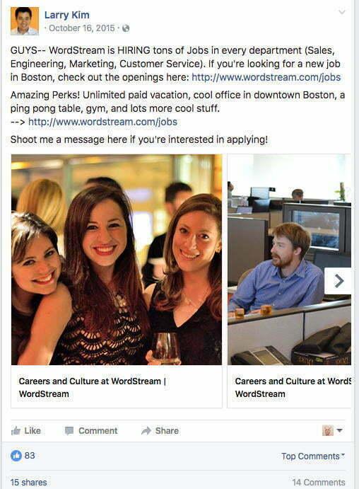 facebook ad for job recruiting