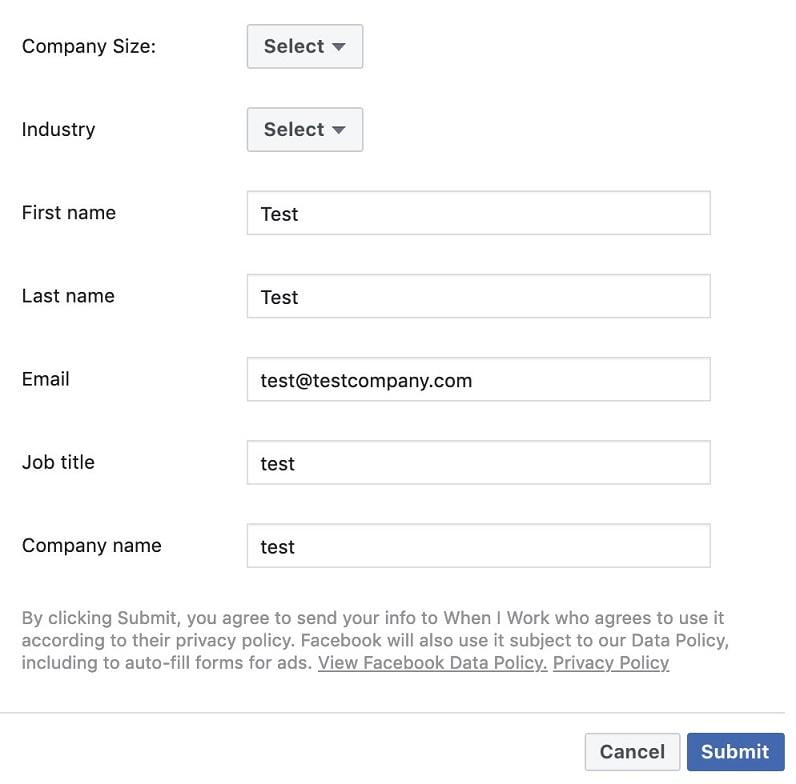 Facebook lead ad create form example