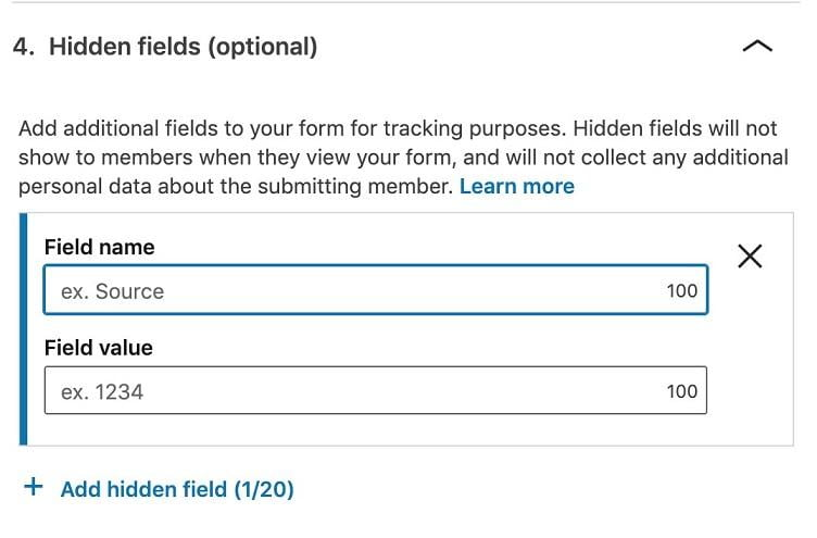 LinkedIn lead generation ad hidden forms option