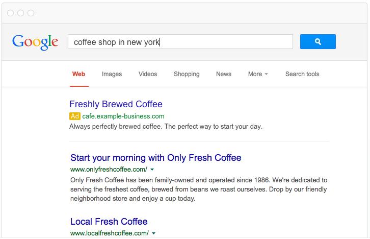 Local PPC tips coffee shop ad