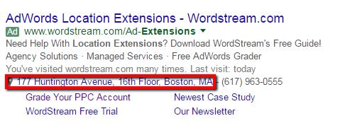 location extension adwords ad