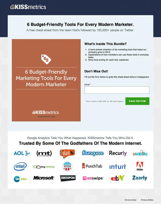 Kissmetrics custom landing page for Marketing enthusiasts