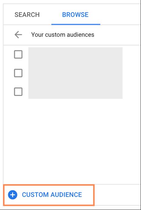 google custom audiences add custom audience option in google ads