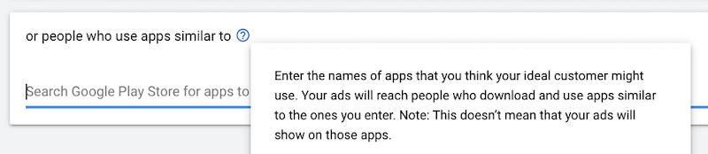 google custom audiences—target by apps used