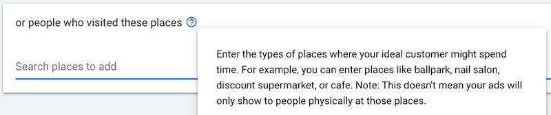 google custom audiences—targeting places visited