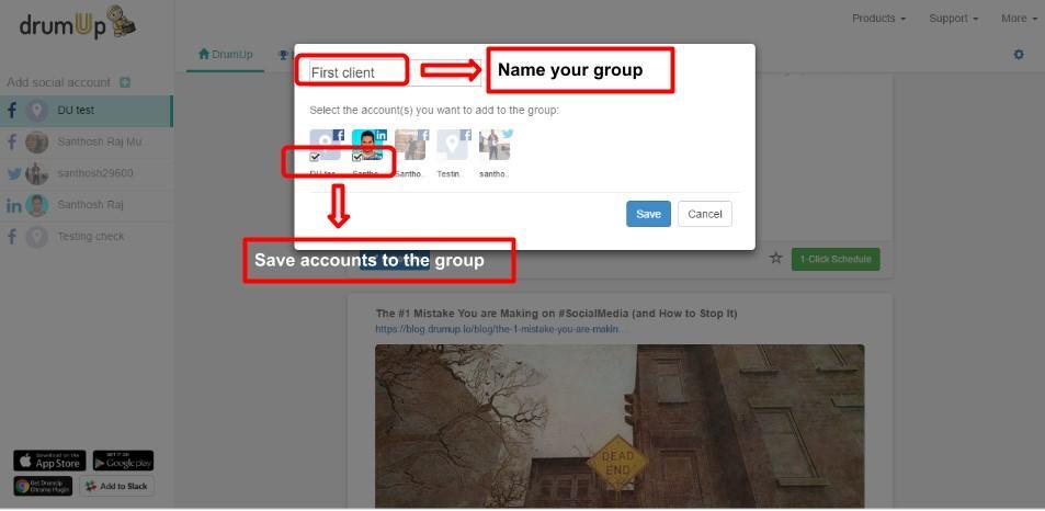 Manage social media accounts DrumUp
