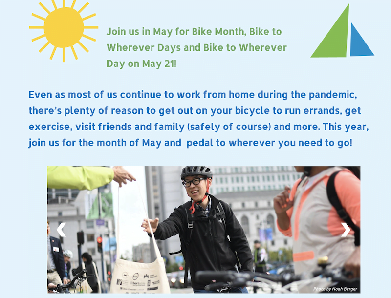 may marketing ideas—person biking on bike to work day