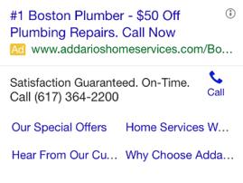 mobile ppc ad plumber
