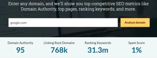link building strategies moz domain authority score